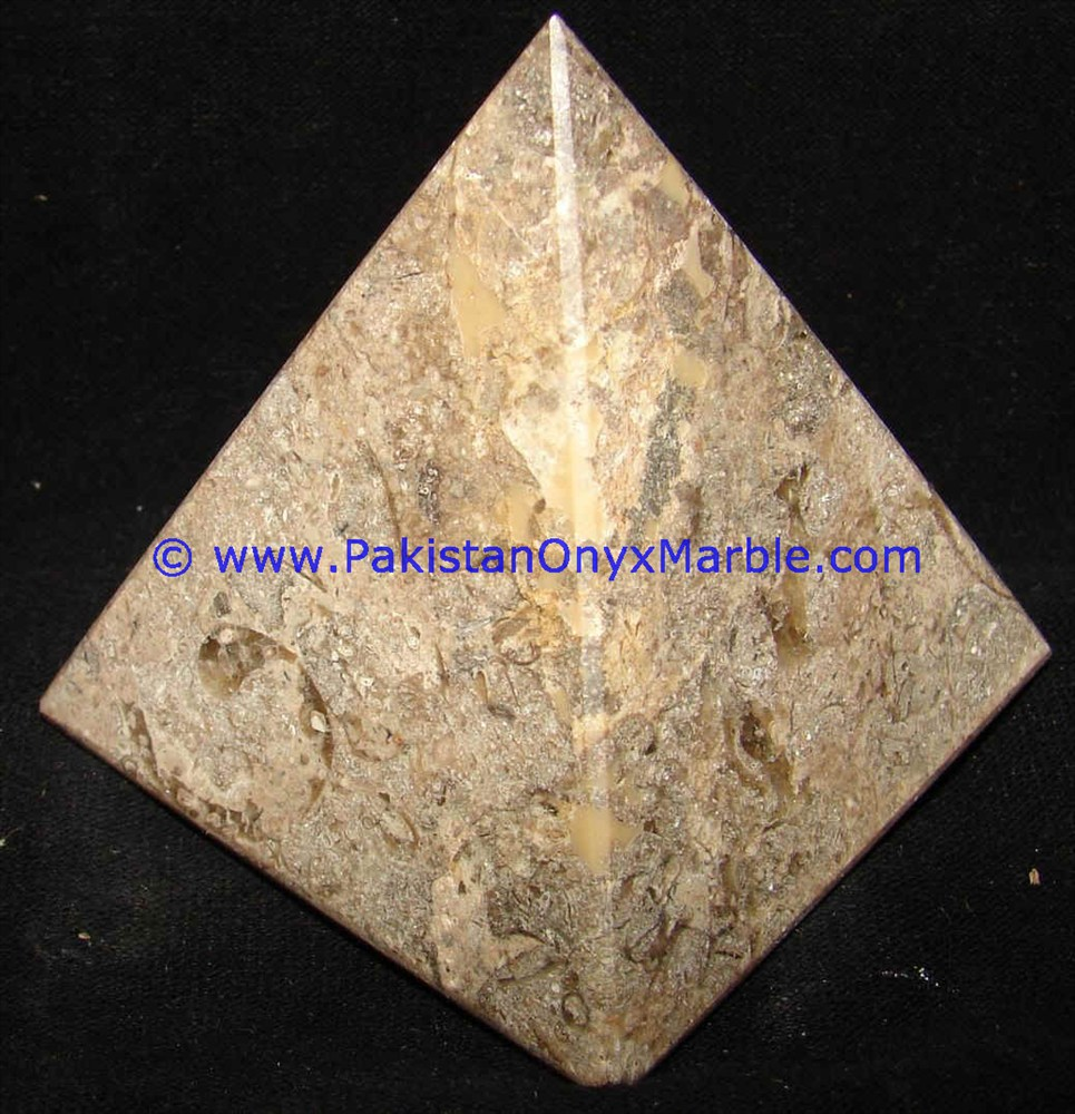 Marble Pyramids Fossil Corel Marble Handcarved Polished