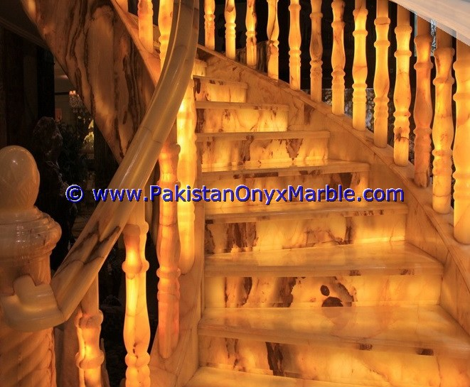 Backlit Onyx Stair Steps risers & Balustrade-24
