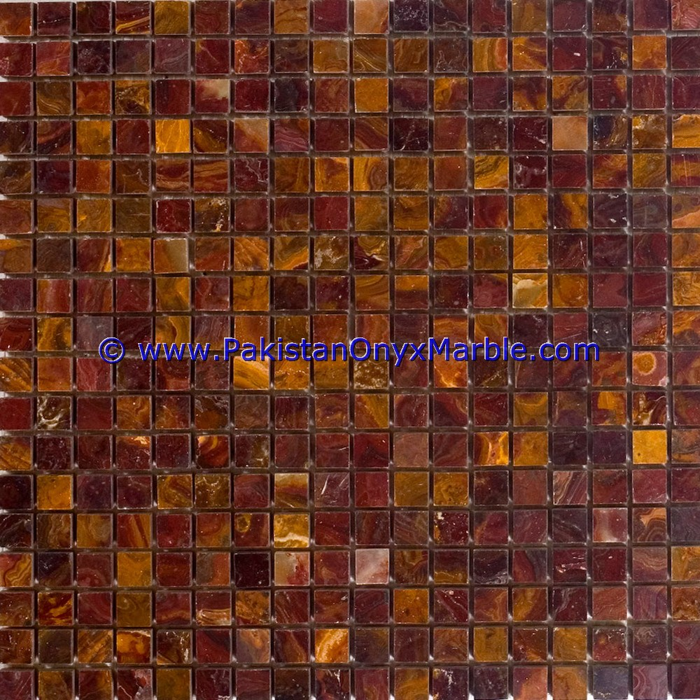 Multi Red Onyx Mosaic Tiles-04