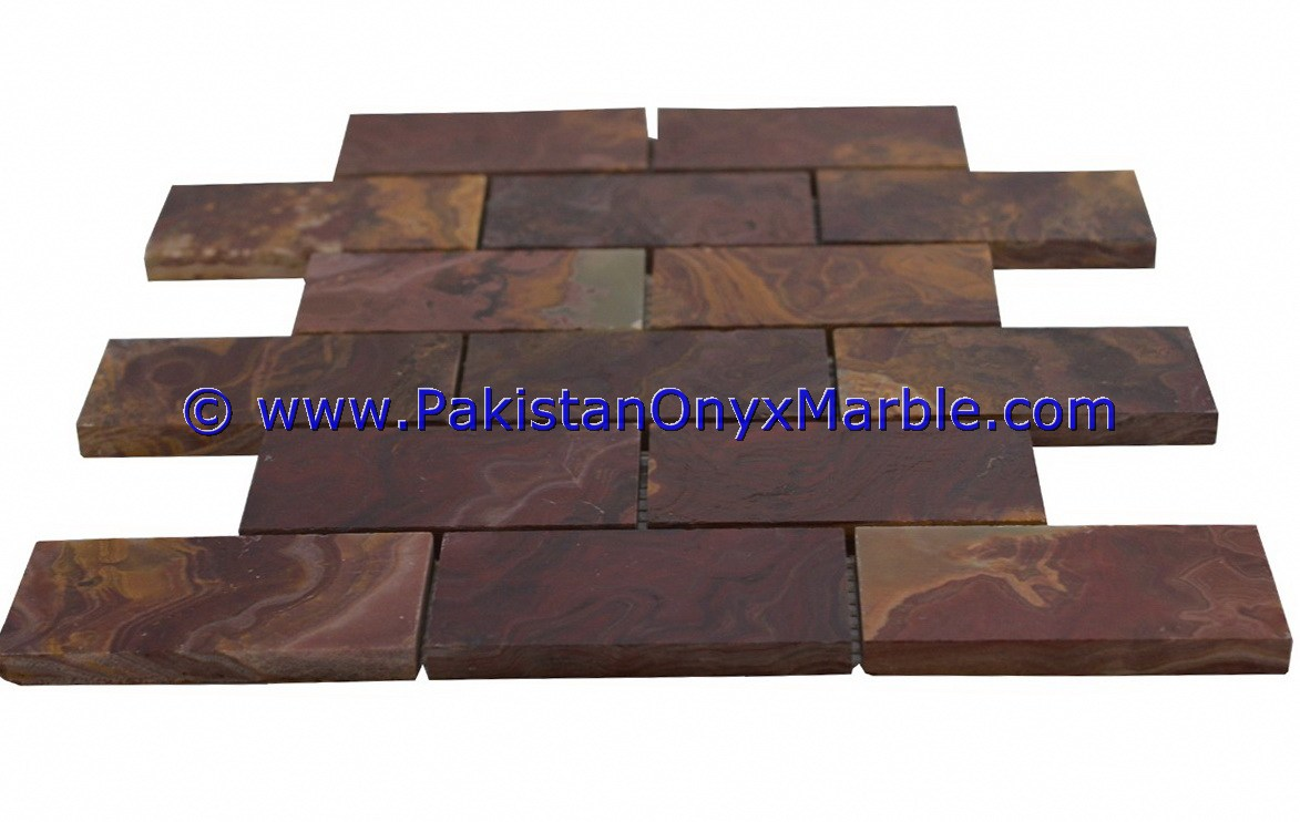 Multi Red Onyx Mosaic Tiles-06