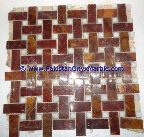Multi Red Onyx Mosaic Tiles-07