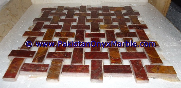 Multi Red Onyx Mosaic Tiles-08
