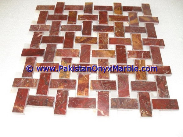 Multi Red Onyx Mosaic Tiles-14