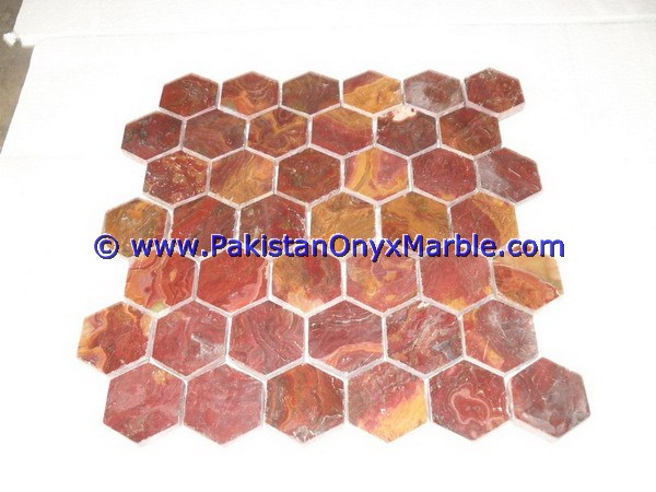Multi Red Onyx Mosaic Tiles-15