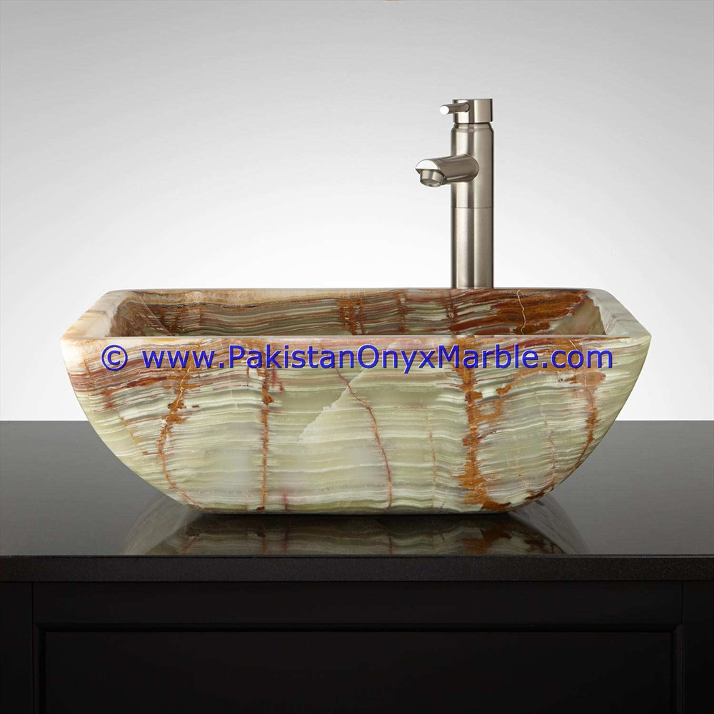 Dark Green Onyx Square Vessels Sinks Basins-02
