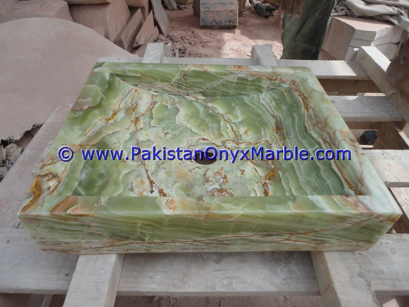 Dark Green Onyx Square Vessels Sinks Basins-10