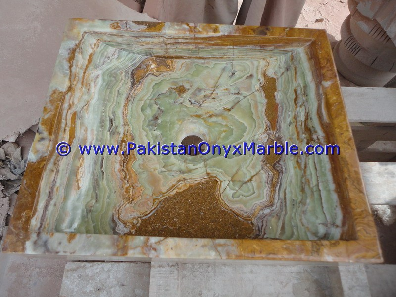 Dark Green Onyx Square Vessels Sinks Basins-12