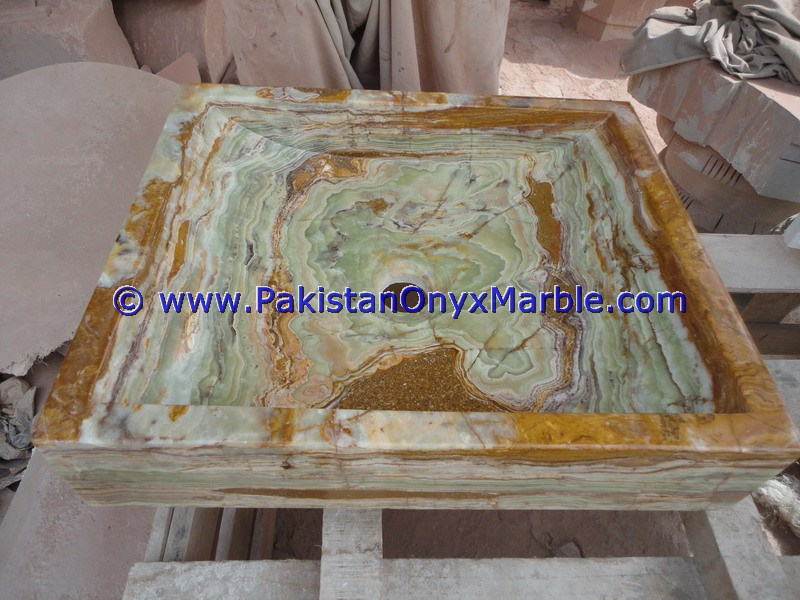 Dark Green Onyx Square Vessels Sinks Basins-13