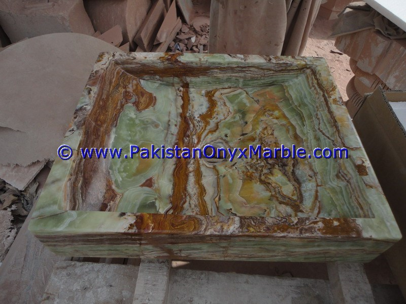 Dark Green Onyx Square Vessels Sinks Basins-14