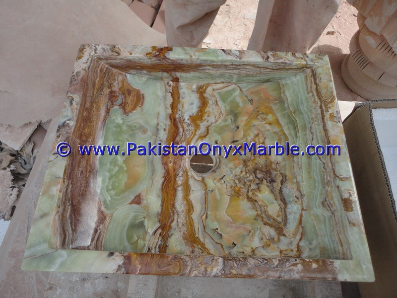 Dark Green Onyx Square Vessels Sinks Basins-15