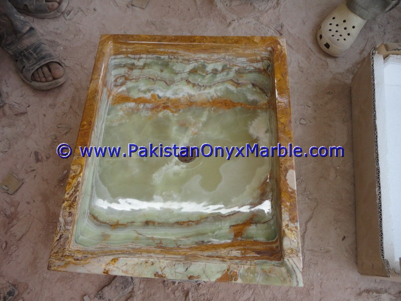 Dark Green Onyx Square Vessels Sinks Basins-17