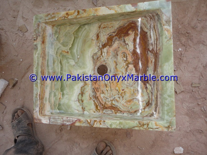 Dark Green Onyx Square Vessels Sinks Basins-18