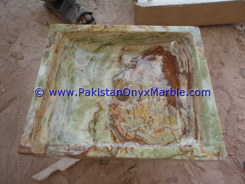 Dark Green Onyx Square Vessels Sinks Basins-19