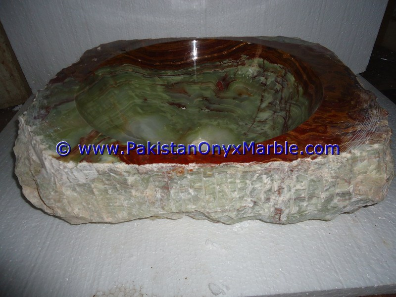 Green Onyx Rough Face Rectangle Shaped Sinks Basins-08