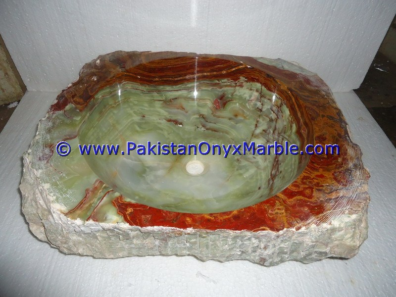 Green Onyx Rough Face Rectangle Shaped Sinks Basins-09