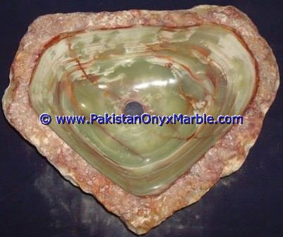 Green Onyx Rough Face Rectangle Shaped Sinks Basins-13
