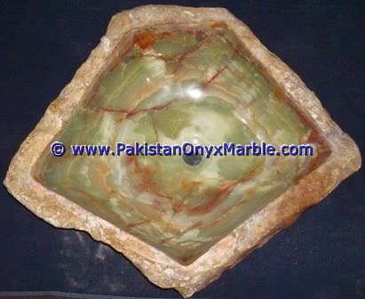 Green Onyx Rough Face Rectangle Shaped Sinks Basins-14
