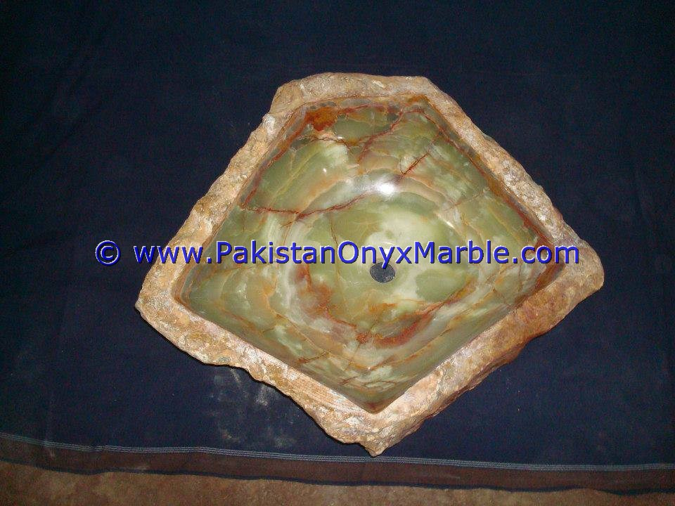 Green Onyx Rough Face Rectangle Shaped Sinks Basins-16