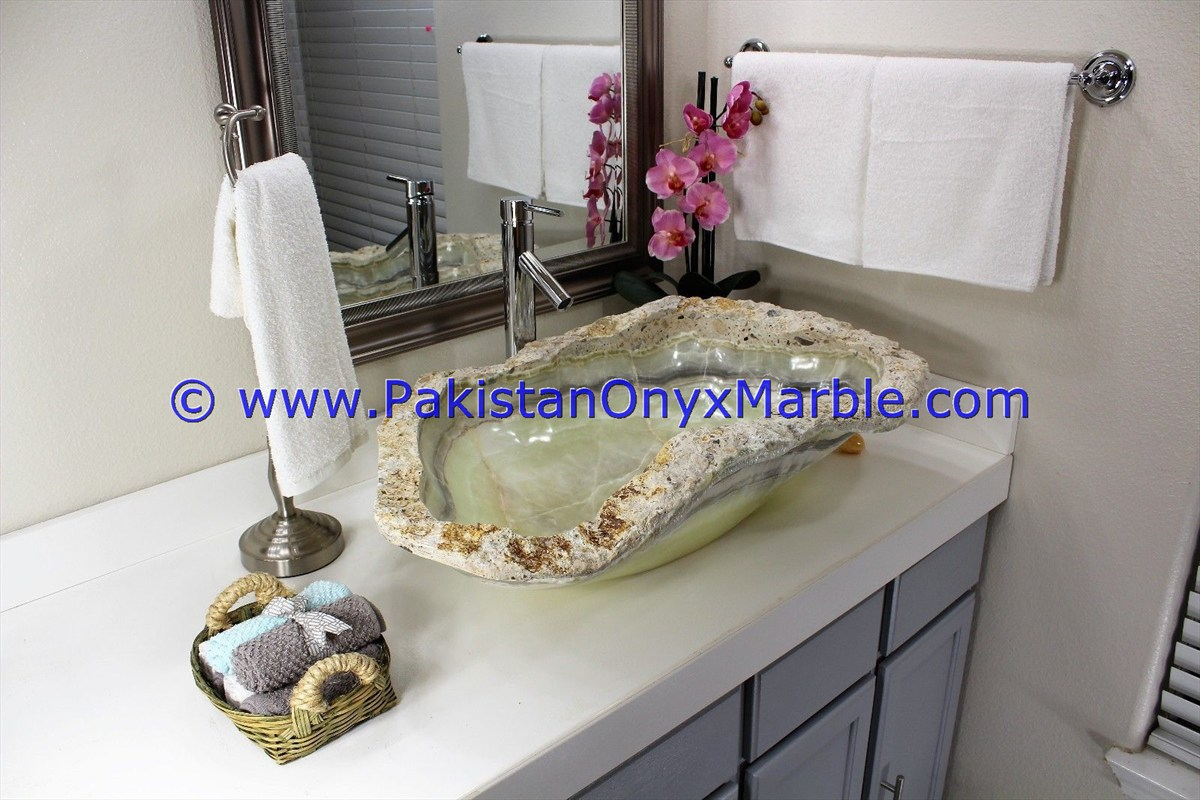 Green Onyx Rough Face Rectangle Shaped Sinks Basins-18