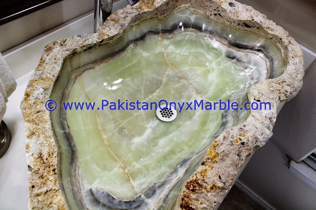 Green Onyx Rough Face Rectangle Shaped Sinks Basins-21