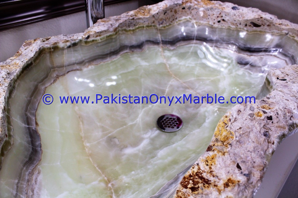 Green Onyx Rough Face Rectangle Shaped Sinks Basins-24