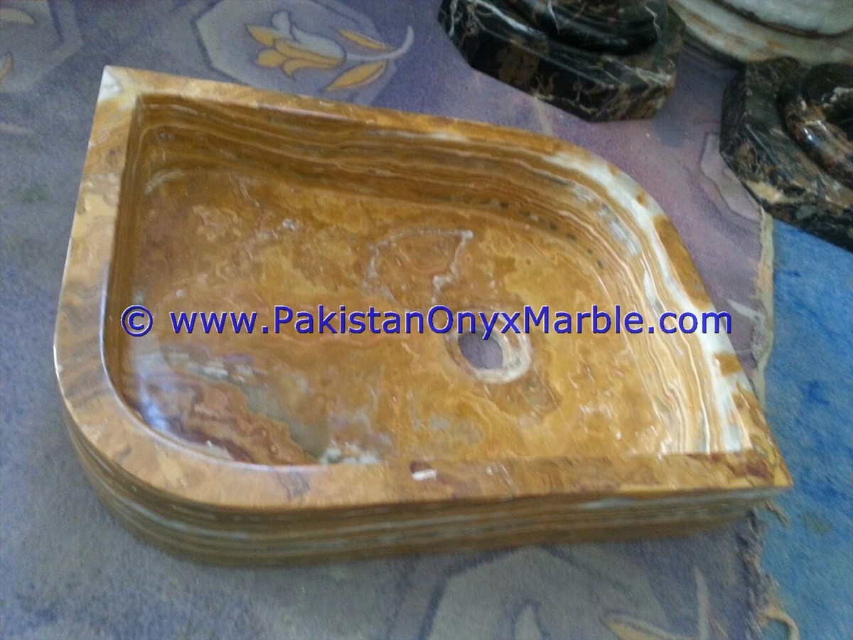 Brown Golden Onyx Rectangle Shaped Sinks Basins-01