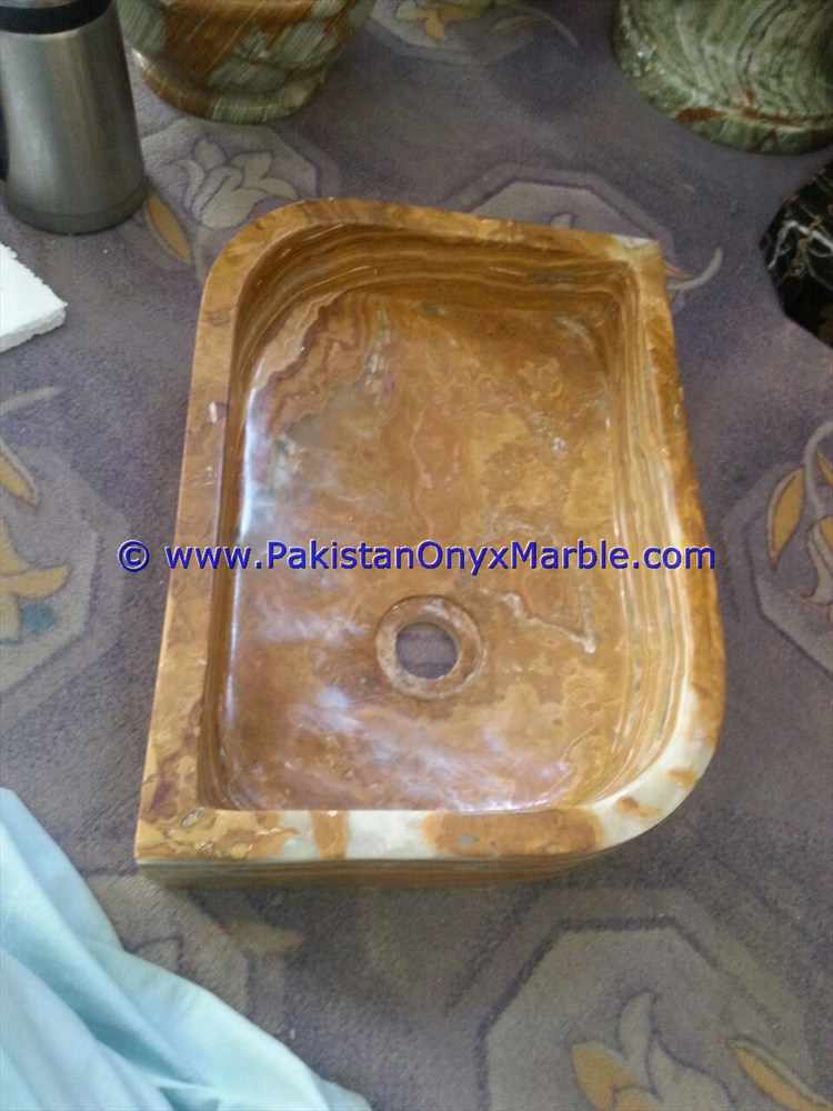 Brown Golden Onyx Rectangle Shaped Sinks Basins-02