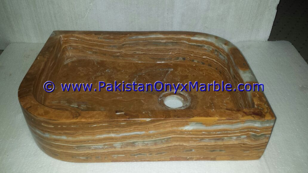Brown Golden Onyx Rectangle Shaped Sinks Basins-06