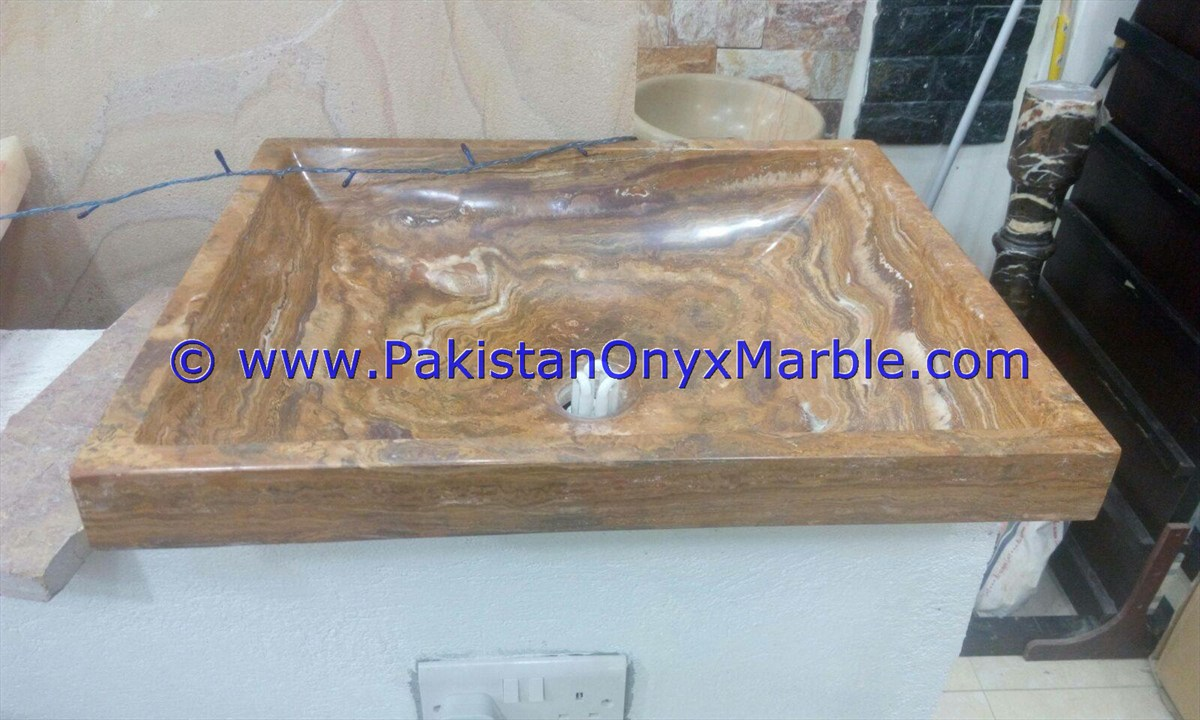 Brown Golden Onyx Rectangle Shaped Sinks Basins-08