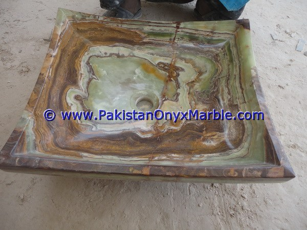 Brown Golden Onyx Rectangle Shaped Sinks Basins-14