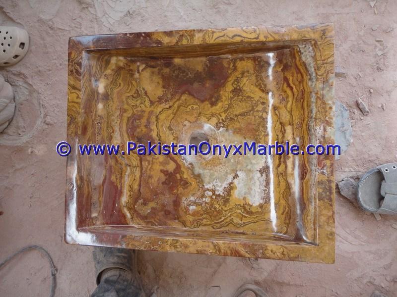 Brown Golden Onyx Rectangle Shaped Sinks Basins-15