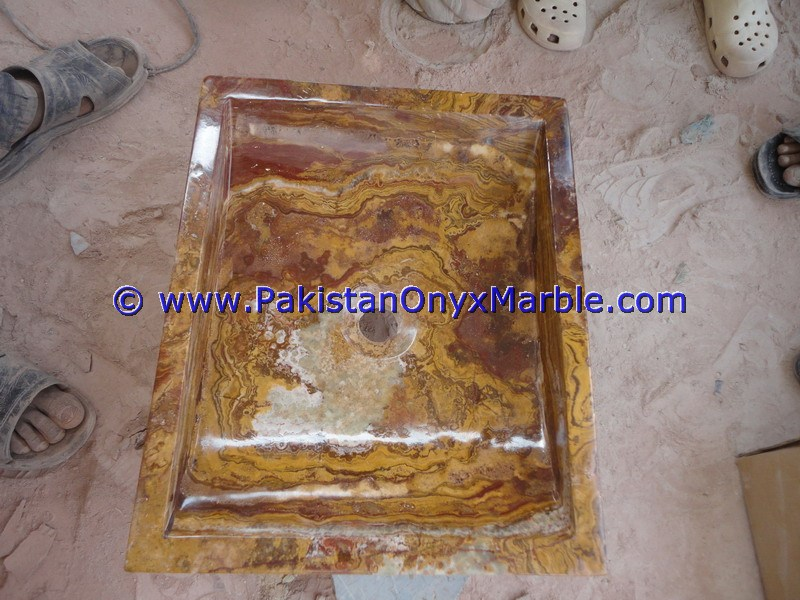 Brown Golden Onyx Rectangle Shaped Sinks Basins-16