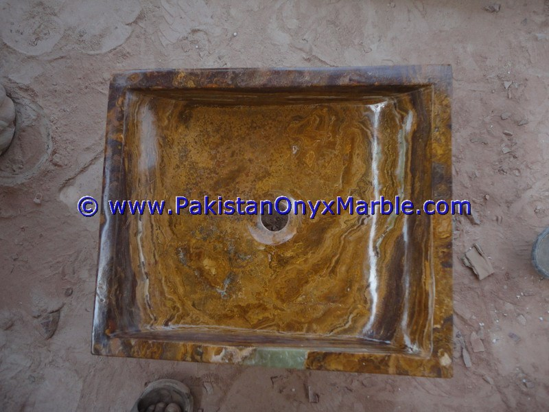 Brown Golden Onyx Rectangle Shaped Sinks Basins-17