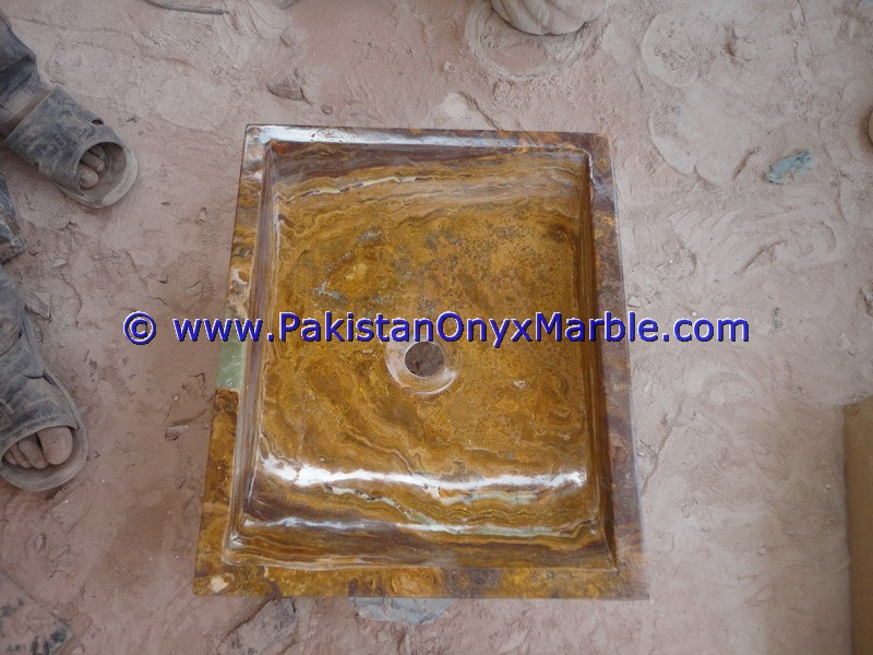Brown Golden Onyx Rectangle Shaped Sinks Basins-18