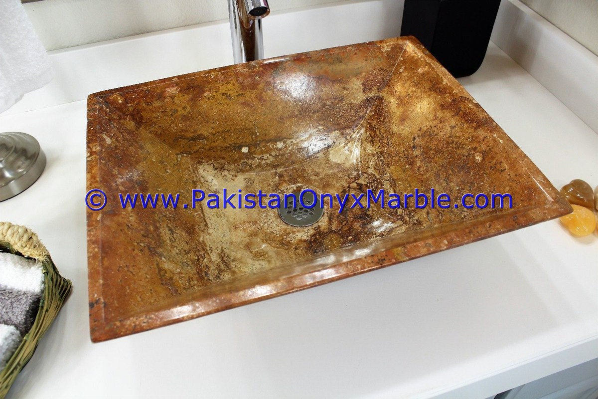 Brown Golden Onyx Rectangle Shaped Sinks Basins-19