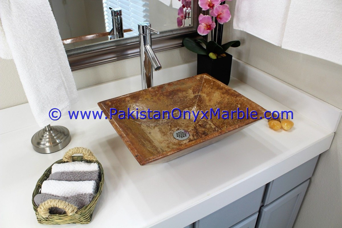 Brown Golden Onyx Rectangle Shaped Sinks Basins-20