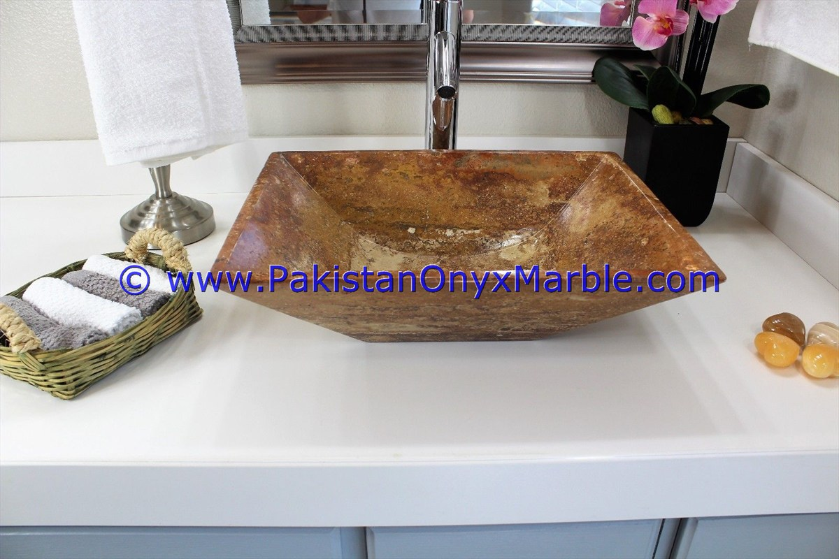 Brown Golden Onyx Rectangle Shaped Sinks Basins-21