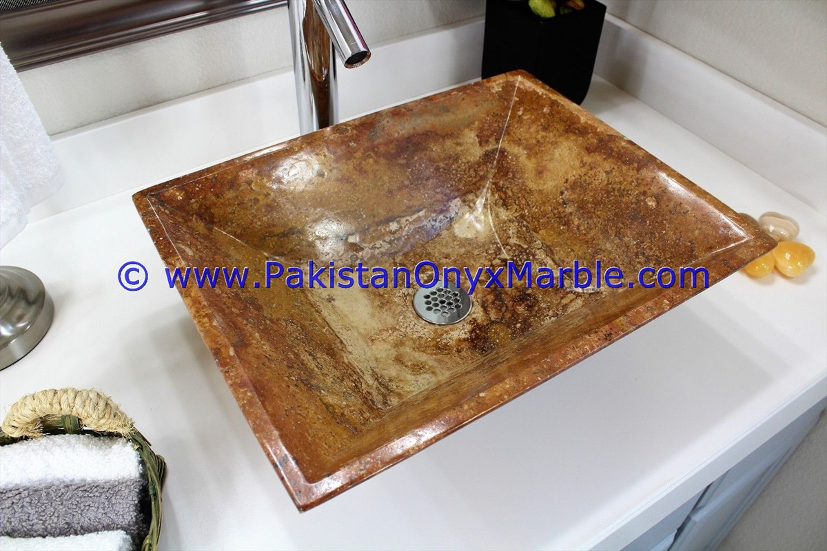 Brown Golden Onyx Rectangle Shaped Sinks Basins-22