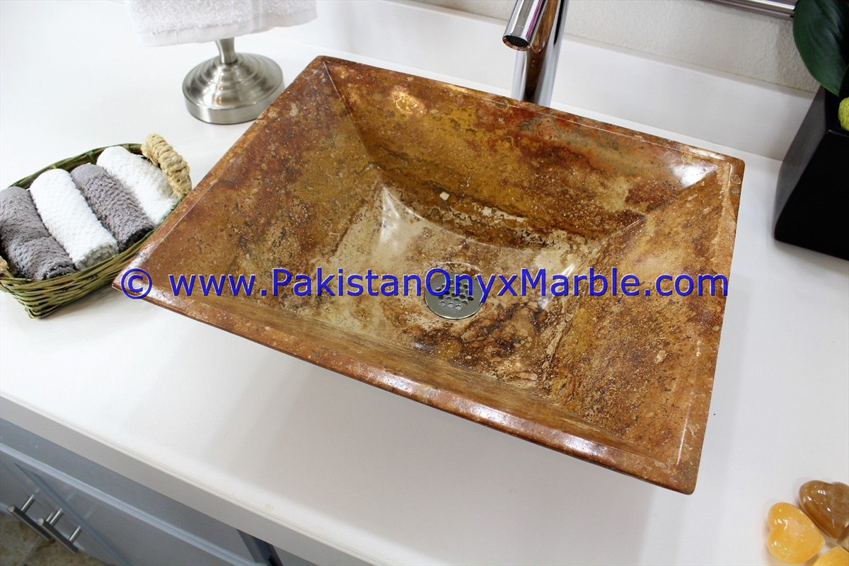 Brown Golden Onyx Rectangle Shaped Sinks Basins-23