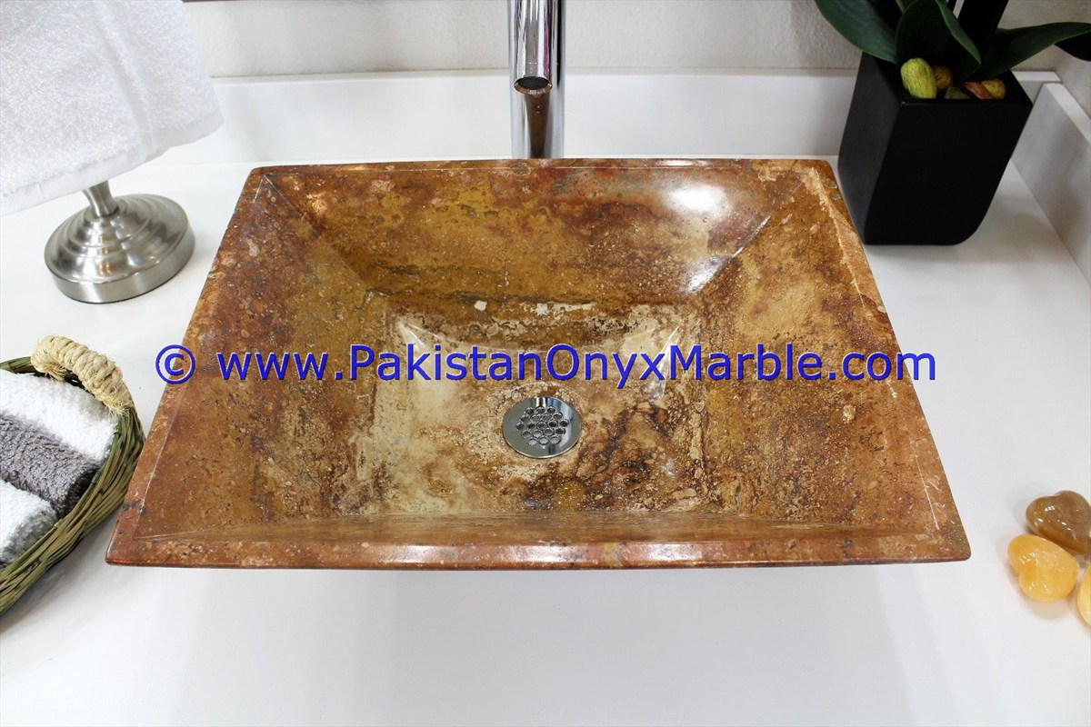 Brown Golden Onyx Rectangle Shaped Sinks Basins-24