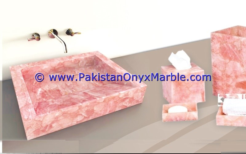 Pink Onyx Rectangle Shaped Sinks Basins-01
