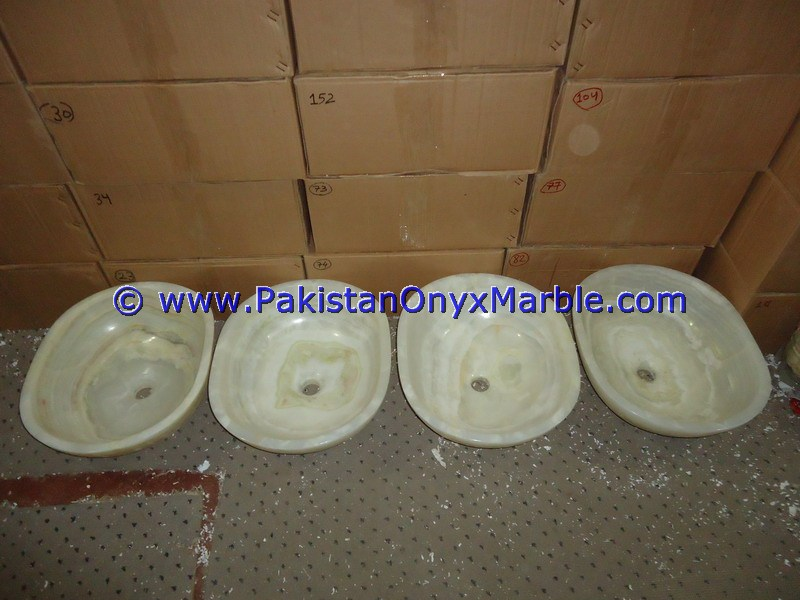 White Onyx oval Shaped Sinks Basins-06