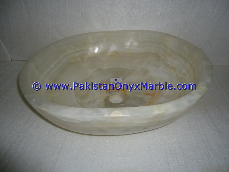 White Onyx oval Shaped Sinks Basins-11