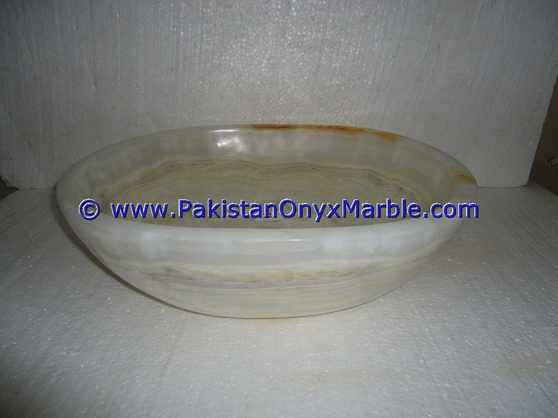 White Onyx oval Shaped Sinks Basins-14