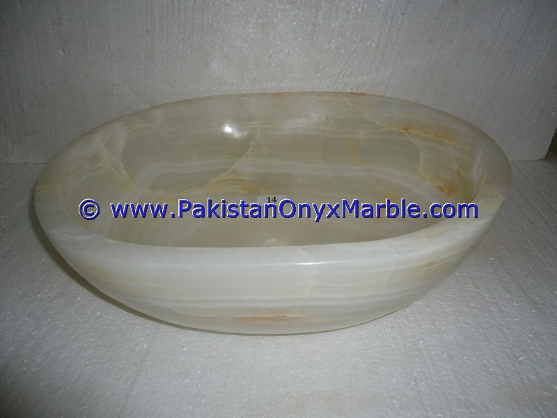 White Onyx oval Shaped Sinks Basins-17