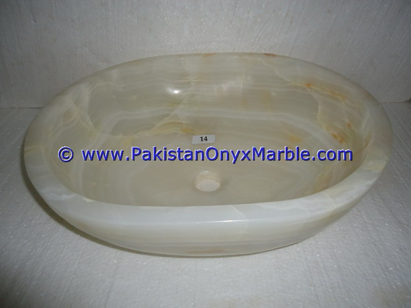 White Onyx oval Shaped Sinks Basins-18