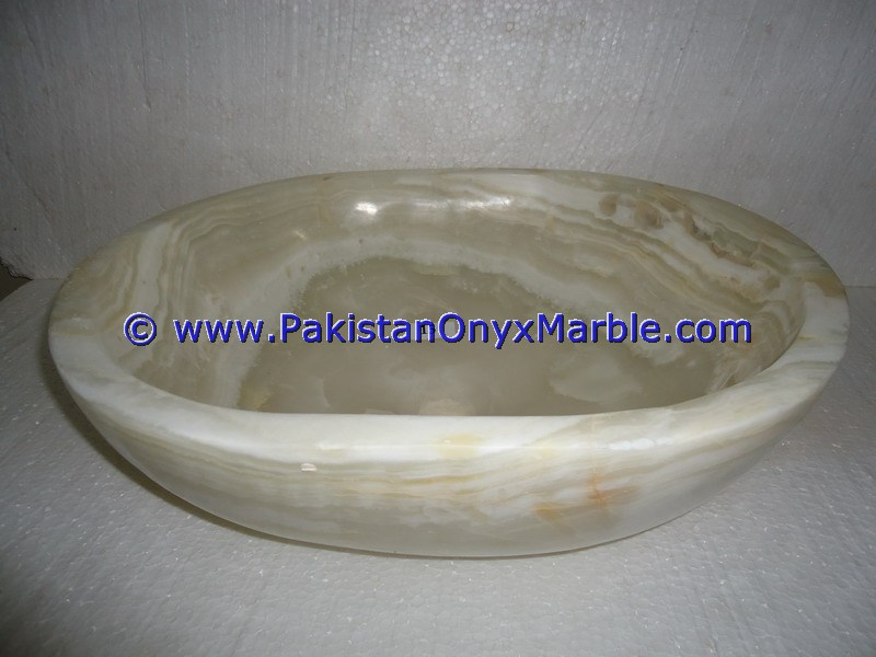White Onyx oval Shaped Sinks Basins-19